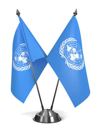 united nations: United Nations - Miniature Flags Isolated on White Background.