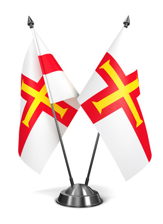 bailiwick: Guernsey - Miniature Flags Isolated on White Background.