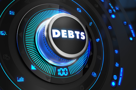 obligations: Debts Button with Glowing Blue Lights on Black Console. Stock Photo