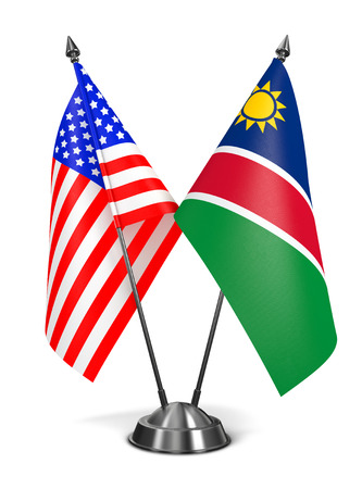 USA and Namibia - Miniature Flags Isolated on White Background. Stock Photo