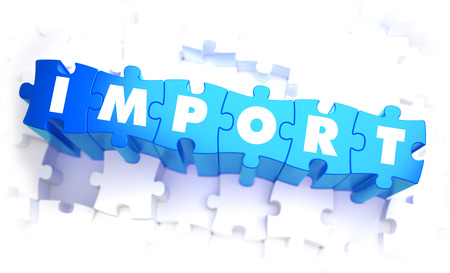duties: Import - Word in Blue Color on Volume  Puzzle. 3D Illustration. Stock Photo