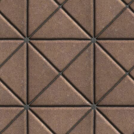 Brown Paving Slabs in the Form of Squares Different Shape. Seamless Tileable Texture. photo