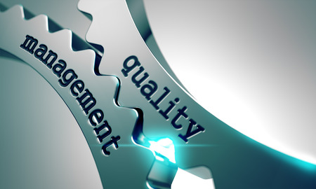 management process: Quality Management on the Mechanism of Metal Gears. Stock Photo