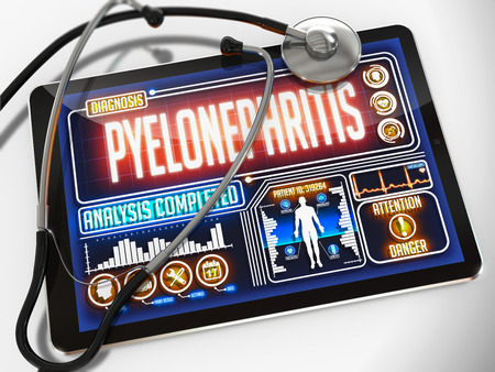 pyelonephritis: Pyelonephritis - Diagnosis on the Display of Medical Tablet and a Black Stethoscope on White Background. Stock Photo