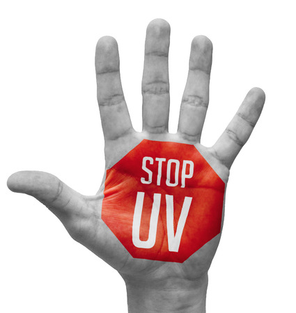 detriment: Stop UV - Red Sign Painted - Open Hand Raised, Isolated on White Background
