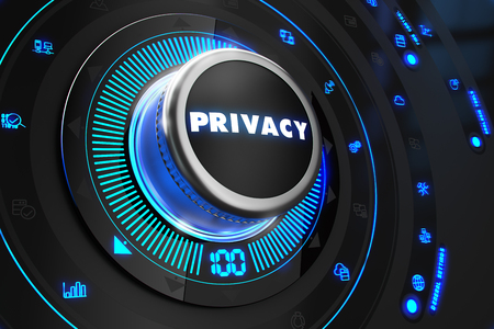 anonymity: Privacy Button with Glowing Blue Lights on Black Console. Stock Photo