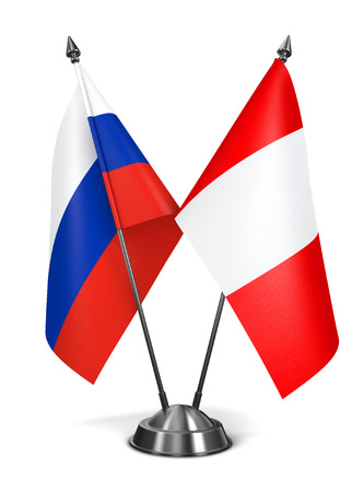 republic of peru: Russia and Peru - Miniature Flags Isolated on White Background.