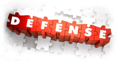 martial law: Defense - Word on Red Puzzles. 3D Render. Stock Photo