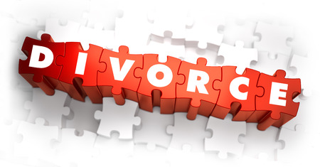 ex wife: Divorce - White Word on Red Puzzles. 3D Render.