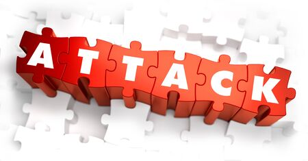 ddos: Attack - Text on Red Puzzles on White Background. 3D Render. Stock Photo