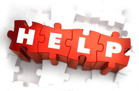 selective: Help - Text on Red Puzzles with White Background and Selective Focus.