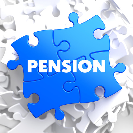 subsidize: Pension on Blue Puzzle on White Background.