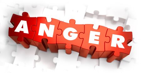 spite: Anger - Text on Red Puzzles with White Background and Selective Focus. Stock Photo