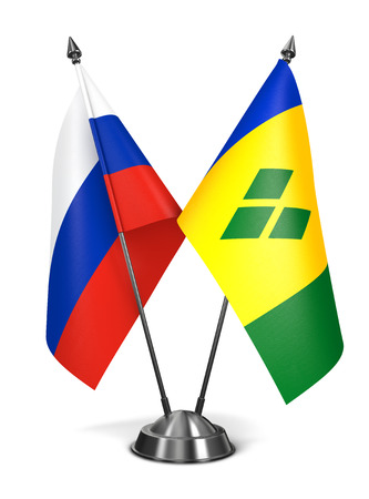 grenadines: Russia, Saint Vincent and Grenadines - Miniature Flags Isolated on White Background.