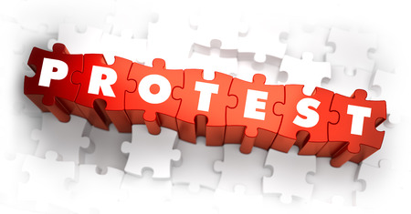 Protest - Word on Red Puzzles. 3D Render. Imagens