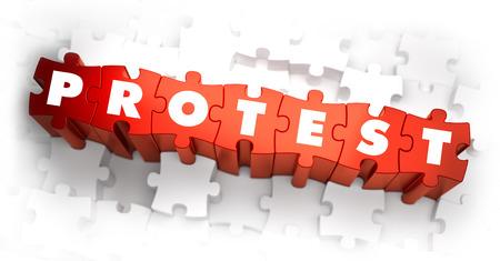 conflictos sociales: Protesta - Palabra en Red Puzzles. Render 3D. Foto de archivo