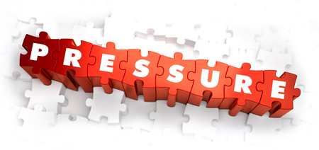 Pressure - Text on Red Puzzles on White Background. 3D Render.