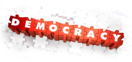 Democracy - Word on Red Puzzles. 3D Render. Stock Photo