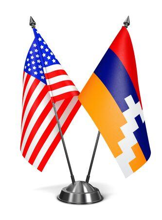 USA and Nagorno-Karabakh - Miniature Flags Isolated on White Background. photo