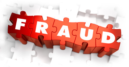 Fraud - Text on Red Puzzles on White Background. Selective Focus.