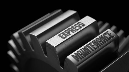eliminating: Express Maintenance on the Metal Gears on Black Background.