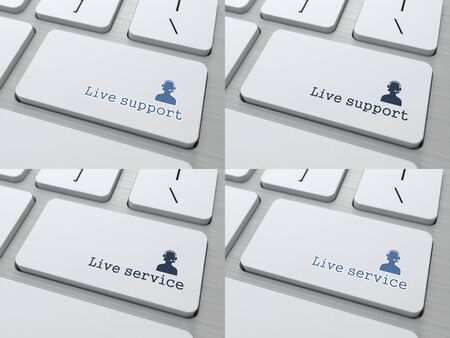 answering phone: Live Support Button on White Modern Computer Keyboard.