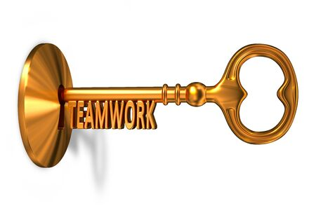 inserted: Teamwork - Golden Key is Inserted into the Keyhole Isolated on White Background