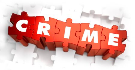 confiscation: Crime - Text on Red Puzzles on White Background. Selective Focus.