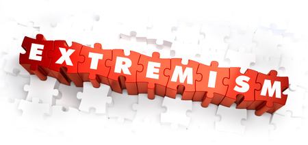 fundamentalism: Extremism - Word on Red Puzzles. 3D Render.
