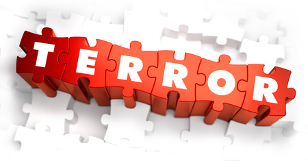 cruelty: Terror - White Word on Red Puzzles. Selective Focus. 3D Render. Stock Photo
