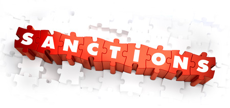 embargo: Sanctions - Word on Red Puzzles. Selective Focus. 3D Render.