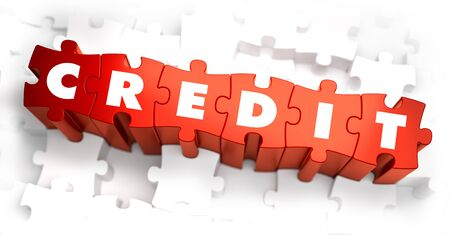 borrowing money: Credit - White Word on Red Puzzles. Selective Focus. 3D Render.
