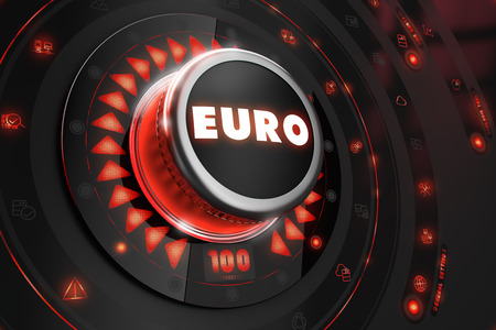 exchange rate: Euro - Regulator on Black Control Console with Red Backlight. Exchange Rate Control Concept.