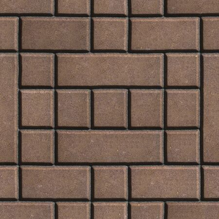 figured: Brown Figured Paving Slabs - Rectangles and Squares. Seamless Tileable Texture.