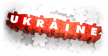 Ukraine - Word on Red Puzzles. Selective Focus. 3D Render.