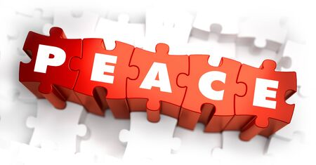Peace - Text on Red Puzzles with White Background and Selective Focus.