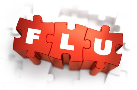 flu immunization: Flu - Text on Red Puzzles. White Background and Selective Focus.