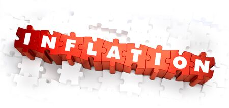 factor: Inflation - Word on Red Puzzles. Selective Focus. 3D Render.