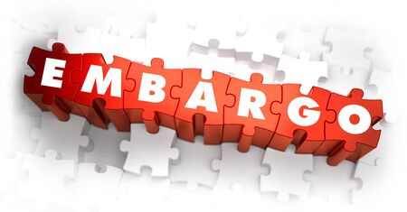 embargo: Embargo - Word on Red Puzzles. Selective Focus. 3D Render.