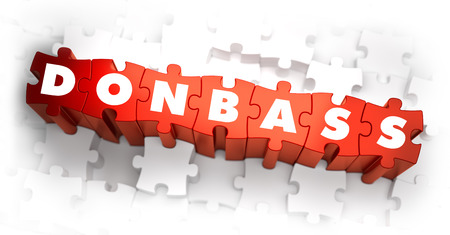 separatism: Donbass - White Word on Red Puzzles. Selective Focus. 3D Render.