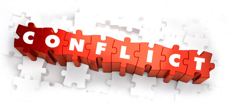 clash: Conflict - Text on Red Puzzles on White Background. Selective Focus. 3D Render. Stock Photo