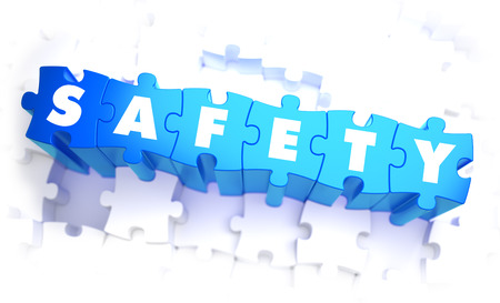 precautions: Safety - Word in Blue Color on Volume  Puzzle. 3D Illustration. Stock Photo