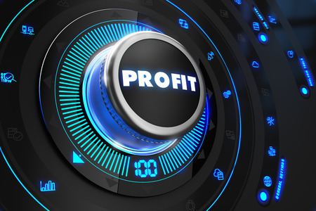 backlight: Profit Controller on Black Control Console with Blue Backlight Stock Photo