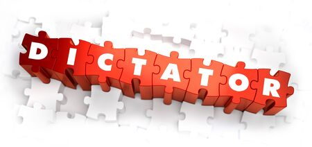 dictator: Dictator - Text on Red Puzzles on White Background. Selective Focus. 3D Render. Stock Photo
