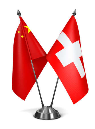 China and Switzerland - Miniature Flags Isolated on White Background.