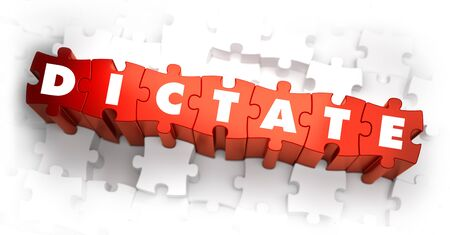 dictate: Dictate - Word on Red Puzzles. Selective Focus. 3D Render.