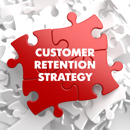 retention: Customer Retention Strategy on Red Puzzle on White Background.