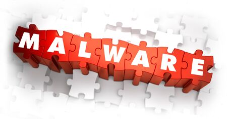 ddos: Malware - White Word on Red Puzzles. Selective Focus. 3D Render.