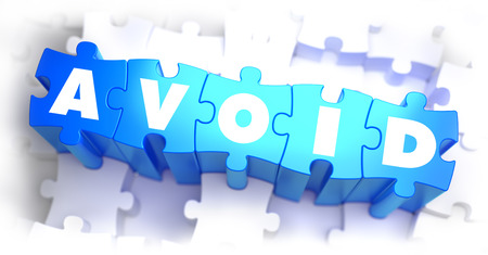 Avoid - White Word on Blue Puzzles on White Background. 3D Illustration. Stock Photo