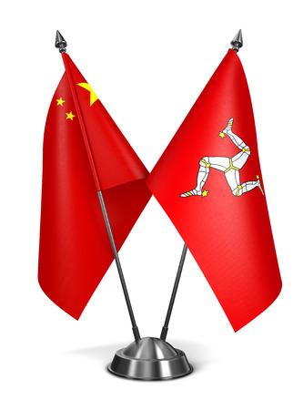 bailiwick: China and Isle Man - Miniature Flags Isolated on White Background.